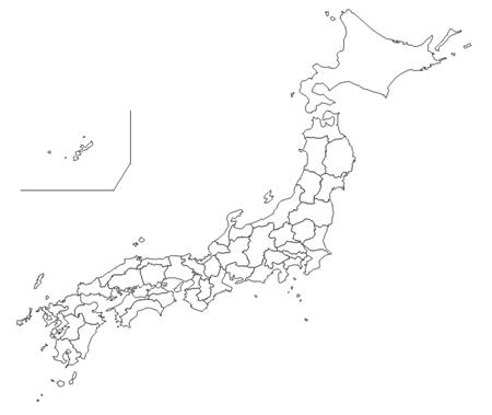 日本地図2 (地図グラフに ... : 日本 白地図 都道府県 : 日本